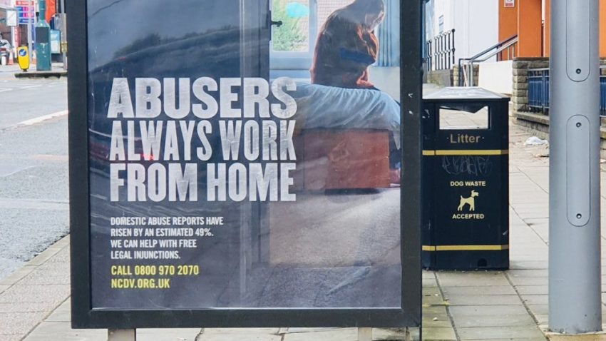 Abusers always work from home poster